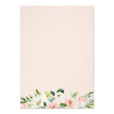 Small Elegant Geometric Blush Pink Floral Birthday Party Invitation Back View