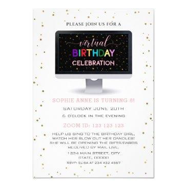 elegant girl colourful virtual birthday party invitation