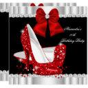 elegant glitter red glamour high heels birthday invitation
