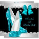 elegant glitter teal blue high heels birthday invitations