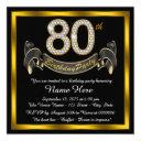 elegant gold 80th birthday party invitation
