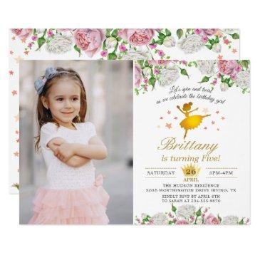 elegant gold ballerina floral girl photo birthday invitations