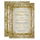 elegant gold beige cream pearl damask party invitation