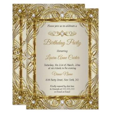 elegant gold beige cream pearl damask party invitation
