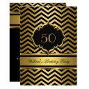 elegant gold black chevron birthday party invitation