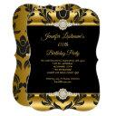 elegant gold black damask diamond birthday party invitations