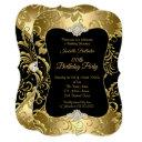 elegant gold black damask floral birthday party invitation