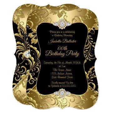 elegant gold black damask floral birthday party invitation