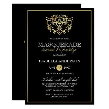 elegant gold & black masquerade sweet 16 party invitations