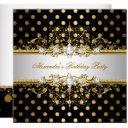 elegant gold black polka dots birthday party invitation