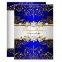 elegant gold blue vintage glamour quinceanera invitations