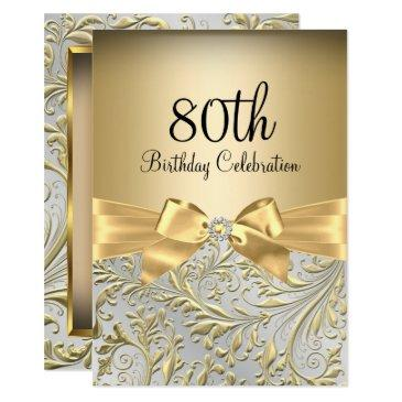 elegant gold bow floral swirl 80th birthday party invitation