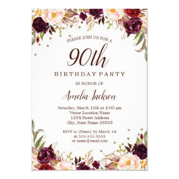 elegant gold burgundy floral 90th birthday party invitations