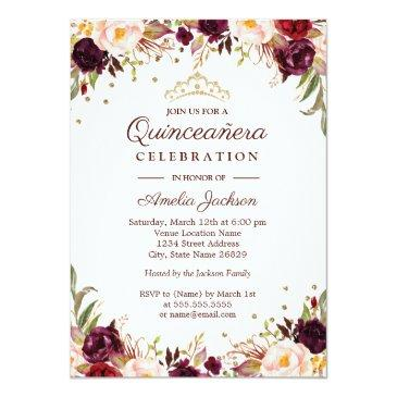 Small Elegant Gold Burgundy Floral Quinceanera Invitations Front View