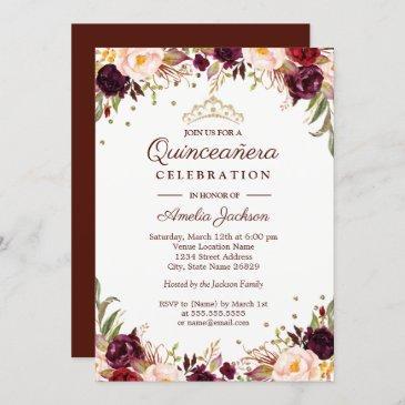 elegant gold burgundy floral quinceanera invitation