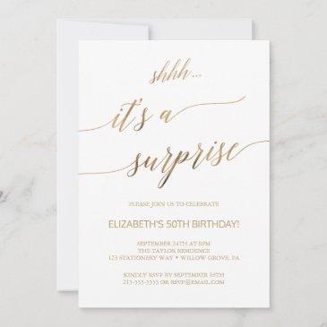 elegant gold calligraphy surprise party invitation