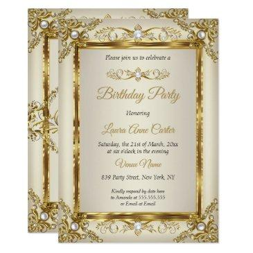 elegant gold cream pearl damask birthday party invitation