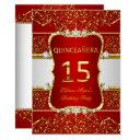 elegant gold dark red glamour quinceanera invitations