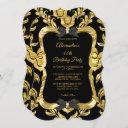 elegant gold faux foil black birthday party invitation