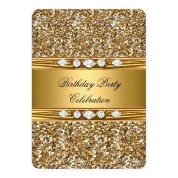 Small Elegant Gold Glitter Look Diamond Birthday Party Invitations Back View