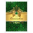 elegant gold green damask quinceanera invite