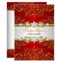 elegant gold red vintage glamour quinceanera invitations