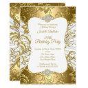 elegant gold white damask floral birthday party invitation