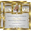 elegant gold white pearl photo birthday party invitation