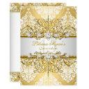 elegant gold white vintage glamour quinceanera 4 invitation