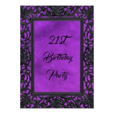 Small Elegant Gothic Floral Metal Framed 21st Birthday Invitation Front View