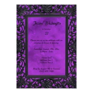 Small Elegant Gothic Floral Metal Framed 21st Birthday Invitation Back View