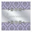 elegant gray and purple damask quinceanera invitation