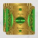 elegant green lime gold fabulous 50th birthday invitation