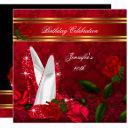 elegant high heels red rose black gold birthday 2 invitation
