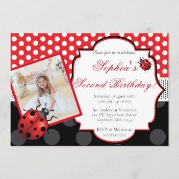 elegant ladybug polka dot birthday invitation