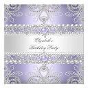 elegant lavender diamonds silver floral birthday invitation