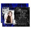 elegant mask & heels navy masquerade sweet 16 invitations