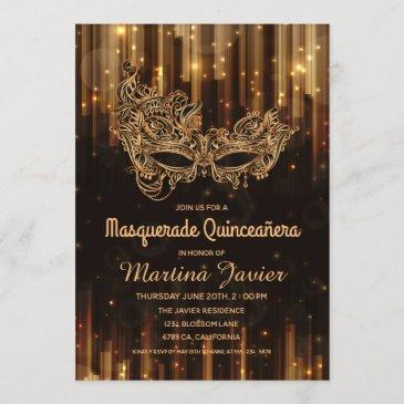 elegant masquerade quinceañera 15th birthday invitation