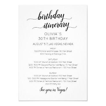 elegant minimalist birthday itinerary invitation