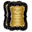 elegant photo birthday party gold glitter black invitation