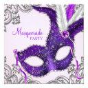 elegant pink and purple masquerade party invitations