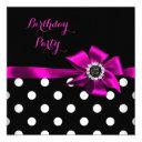 elegant pink black bow polka dots birthday party invitation