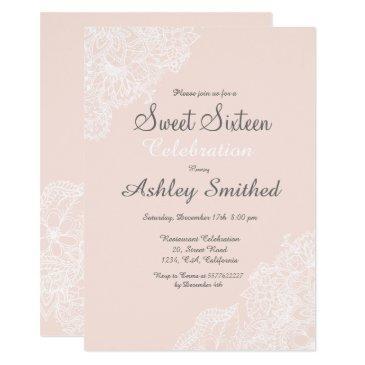 elegant pink blush floral lace sweet 16 invitation