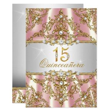 elegant pink gold pearl damask quinceanera invite
