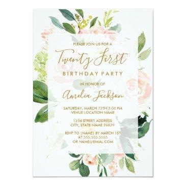 Small Elegant Pink Peach Bloom 21st Birthday Party Invitation Front View