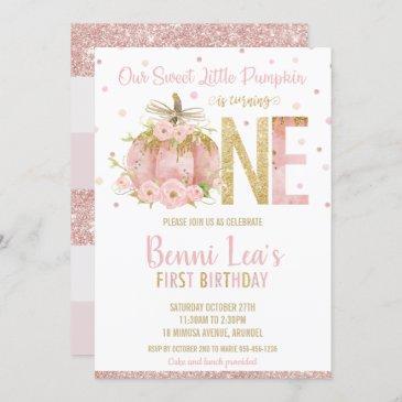 elegant pink pumpkin 1st birthday one girl invitation