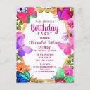 elegant pink purple floral butterfly birthday invitation postinvitations