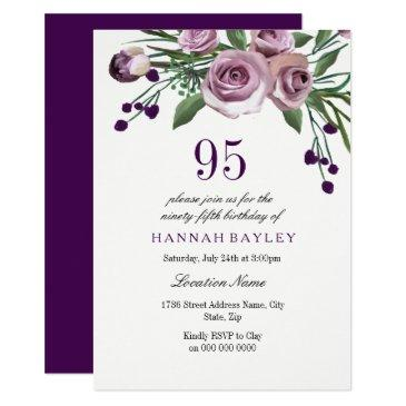 Elegant Plum Purple Rose 95th Birthday Invitations