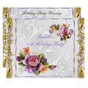 elegant pretty purple pink rose white birthday invitations