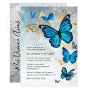 elegant princess gold blue butterfly quinceanera invitation